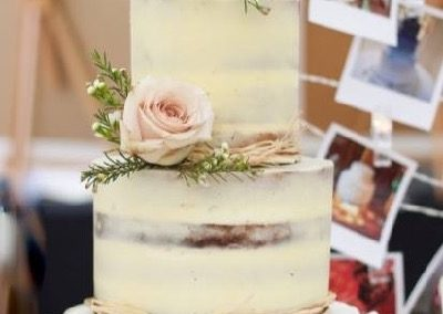 Semi Naked Wedding Cake with roses