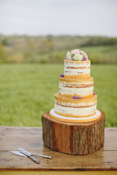 Semi-naked wedding cake by Flossie Pops Cakery