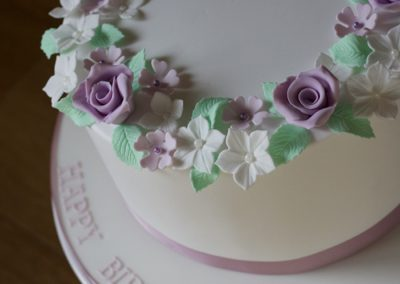 Purple roses birthday cake